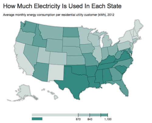 how much electricity used in each state
